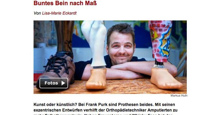 """Frank Purk bei Spiegel Online: """"Bunte Prothesen nach Maß"""""""