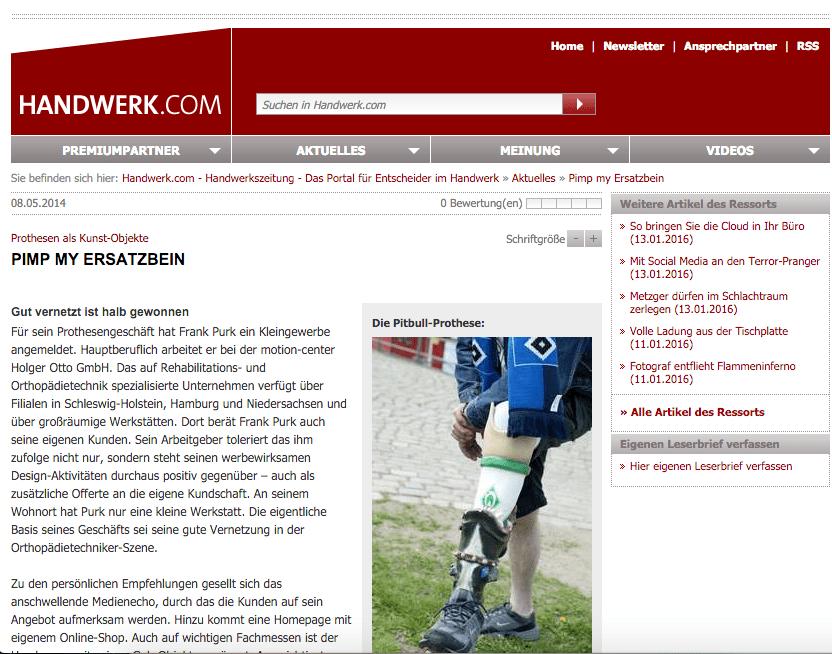 Handwerk.com über Frank Purk Prothesendesign